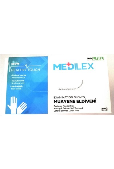 Reflex Medilex Pudrasız Mavi Muayene Eldiven 100'LÜ Large