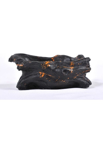 Flovart Şık Dekoratif Saksı - Siyaha Turuncu Serpme