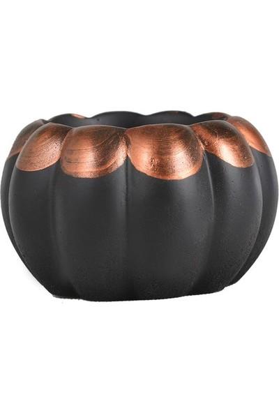 Flovart Dekoratif Şık ve Zarif Bal Kabağı Saksı - Siyaha Bronz