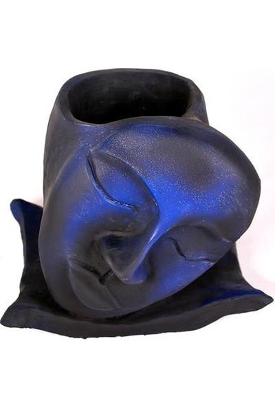 Flovart El Yapımı Yüz Saksı Özel Tasarım Maske Saksı - Siyaha Mavi