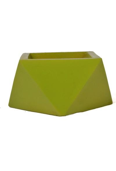 Flovart Dekoratif Modern Özel Tasarım Prizma Saksı - Yeşil