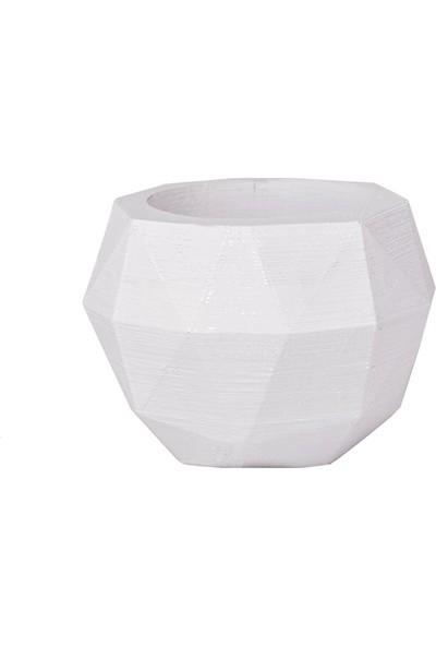 Flovart Özel Tasarım El Yapımı Dekoratif Diamond Saksı - Beyaz