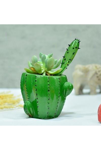 Dekoratif Kaktüs Saksı - Koyu Yeşil