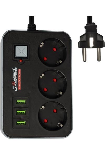 Powermaster PM-17564 3 USB Çıkışlı 3'lü 1.8 Metre Kablolu Akım Korumalı Priz 10A-2500 Watt