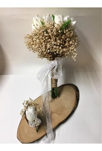 Kavuun Beyaz Islak Lale Gelin Çiçeği El Buketi