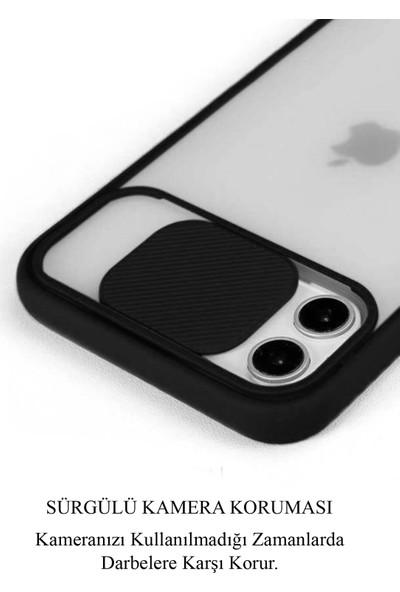 CaseArt Huawei Y6P Kapak Lensi Açılır Kapanır Kamera Korumalı Silikon Kılıf - Kırmızı