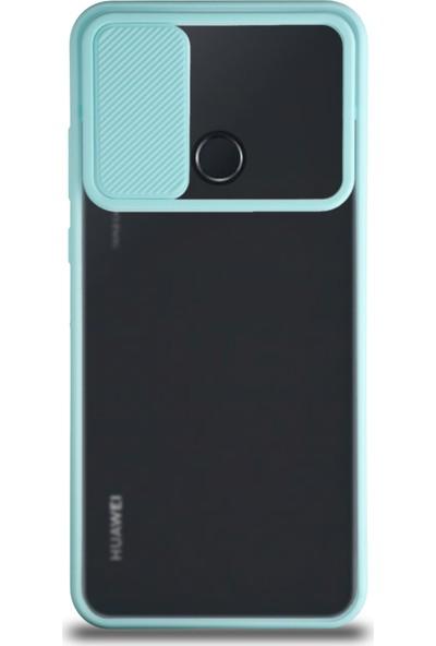 CaseArt Huawei Y6P Kapak Lensi Açılır Kapanır Kamera Korumalı Silikon Kılıf - Turkuaz