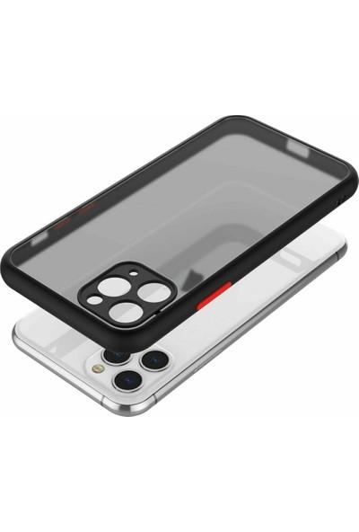 CaseArt Apple iPhone 12 Kılıf Kamera Korumalı Silikon Kenarlı Renkli Düğmeli Mat Arka Kapak - Siyah