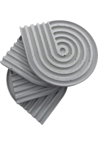 Bubigo Beton Bardak Altlığı | Damla Çizgili | 4'lü x 2 Adet