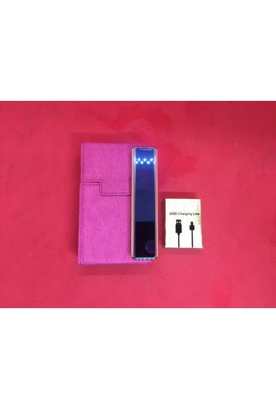 Baskı Adresi İsme Özel Pembe Deri Uyumlu Sigara Kutusu ve USB Şarjlı Çakmak