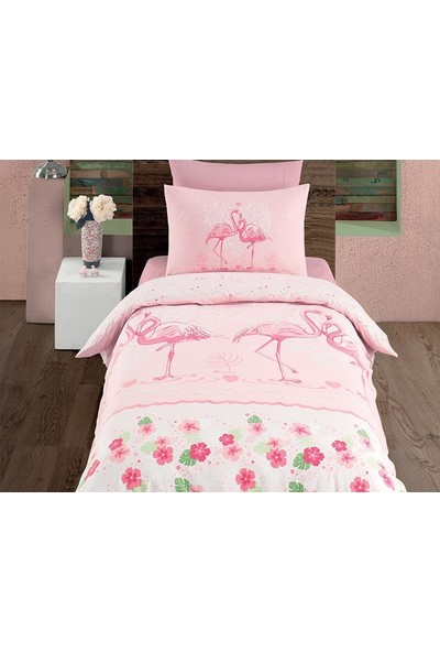 Çeyiz Diyarı Flamingo Genç Çocuk Nevresim Takımı Pembe