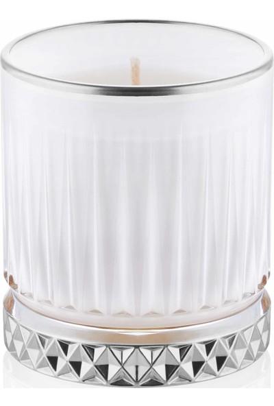 The Mia Cam Içi Dolu Mumluk - Beyaz Gümüş 7 x 8 cm