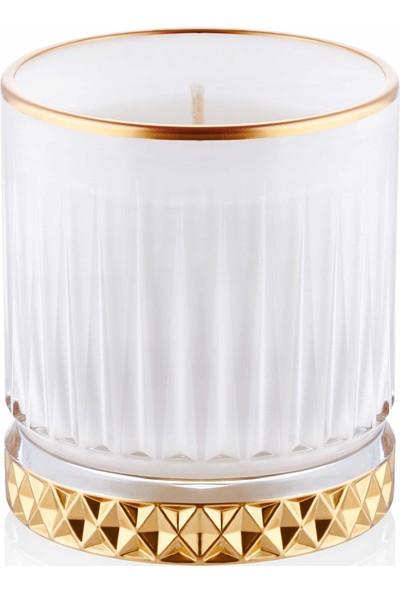 The Mia Cam Içi Dolu Mumluk - Beyaz Gold 7 x 8 cm