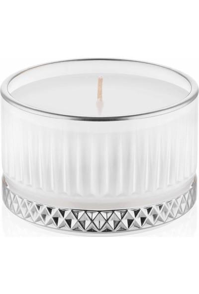 The Mia Cam Içi Dolu Mumluk - Beyaz Gümüş 5 x 9 cm