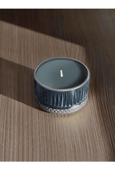 The Mia Cam Içi Dolu Mumluk - Lacivert Gümüş 5 x 9 cm