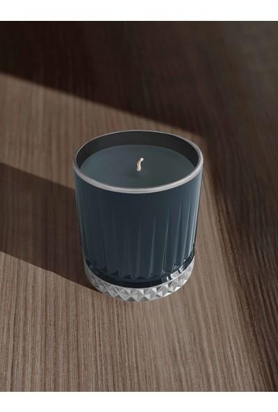 The Mia Cam Içi Dolu Mumluk - Lacivert Gümüş 7 x 8 cm