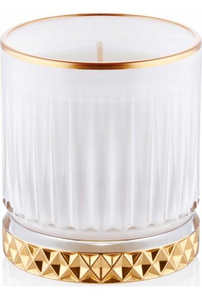 The Mia Cam Içi Dolu Mumluk - Beyaz Gold 10 x 8 cm