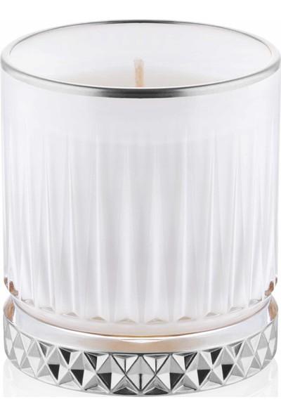 The Mia Cam Içi Dolu Mumluk - Beyaz Gümüş 10 x 8 cm