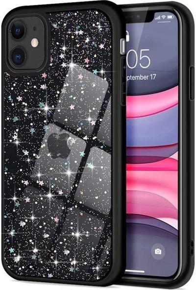 Atalay Apple İphone 11 Simli Kenarıli Darbe Önleyici Silikon Kılıf Siyah