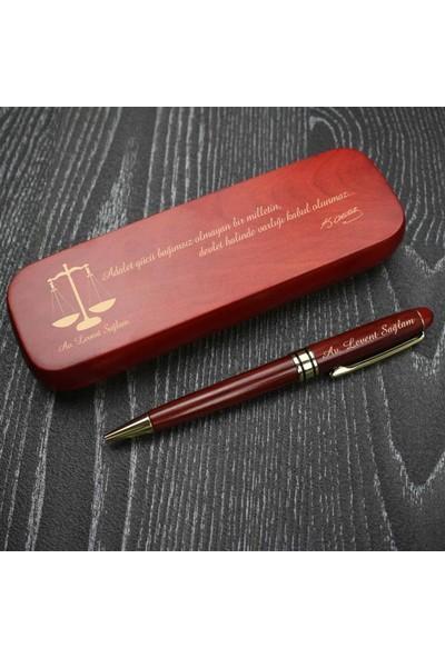 Hediye Rengi İsme Özel Ahşap Kutulu Lüx Tükenmez Kalem Avukat