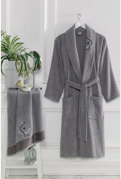 Elmira Textile Elmira Şalyaka Kadın Erkek Pamuklu Havlulu Banyo Bornoz Takımı S/m Gri