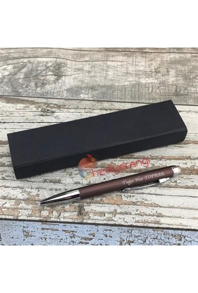 Hediye Rengi İsme Özel Bronz Renkli Tükenmez Kalem Kutulu