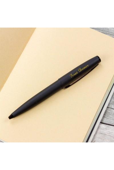 Hediye Rengi İsme Özel Lüx Siyah Mat Tükenmez Kalem Kutulu