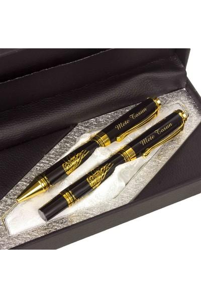 Hediye Rengi İsme Özel Tuğra Temalı Altın Rengi Işlemeli 2'Li Roller Ve Tükenmez Kalem Seti