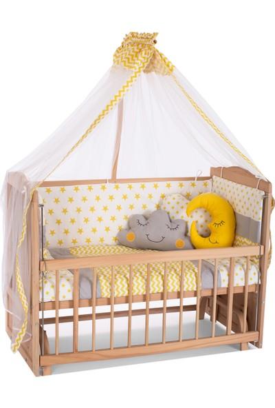 Carino Wins Masif Organik Ahşap Anne Yanı Sallanan Beşik + Sarı Bebek Uyku Seti + Yatak
