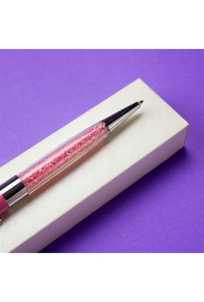 Hediye Rengi İsme Özel Taşlı Tükenmez Kalem Pembe