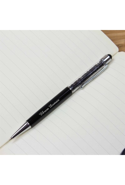 Hediye Rengi İsme Özel Taşlı Tükenmez Kalem Siyah