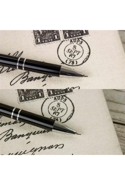 Hediye Rengi İsme Özel Tükenmez Kalem Ve Versatil Kalem Seti Siyah