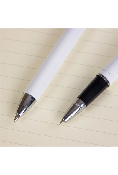 Hediye Rengi Kişiye Özel Premium Metal Roller Ve Tükenmez Kalem Seti Tasarım Kutulu Beyaz