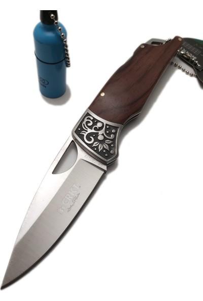 Crkt 16 cm Crkt Ahşap Kabzeli Çetikli Çelik Bıçak Fıçı Çakmaklı