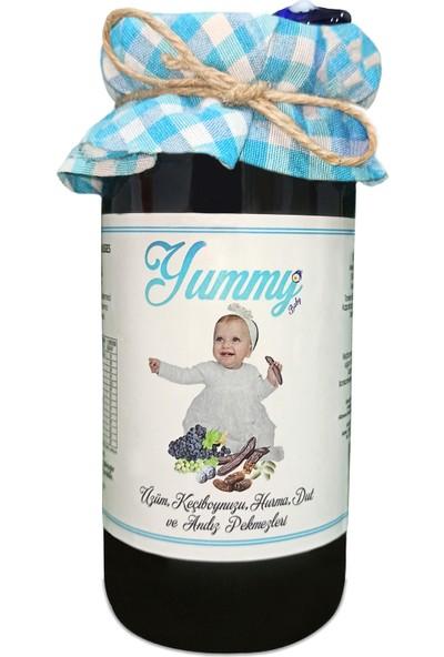 Yummy Baby Üzüm, Keçi Boynuzu(Harnup), Hurma, Dut ve Andız Pekmezi (290g +6 Ay Organik Bebek Ek Gıda)