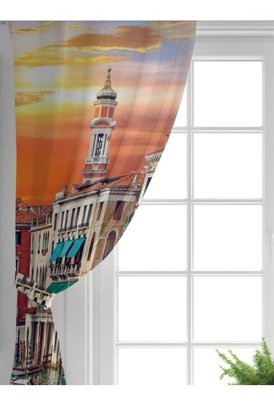 RealHomes Çift Kanat RealHomes Özel Tasarım Dijtal Baskılı Modern Salon Fon Perdesi