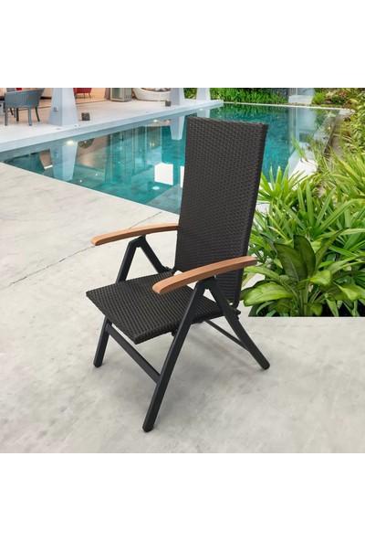Evinizin Atölyesi 5 Pozisyonlu Rattan Katlanır Koltuk, Bahçe Sandalyesi, Balkon Sandalyesi, Rattan Sandalye