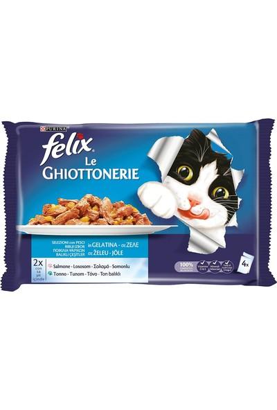 Felix Yetişkin Kediler Için Somonlu ve Ton Balıklı Yaş Kedi Maması Pouch (4 x 100 Gr) x 10 Adet