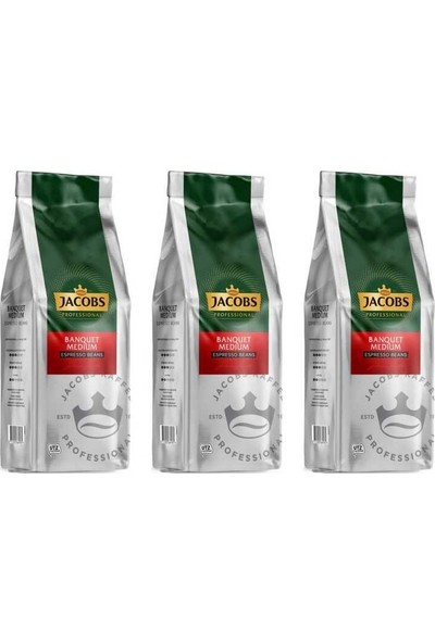 Jacobs Banquet Medium Espresso Beans Çekirdek Kahve 1000 gr x 3 Paket