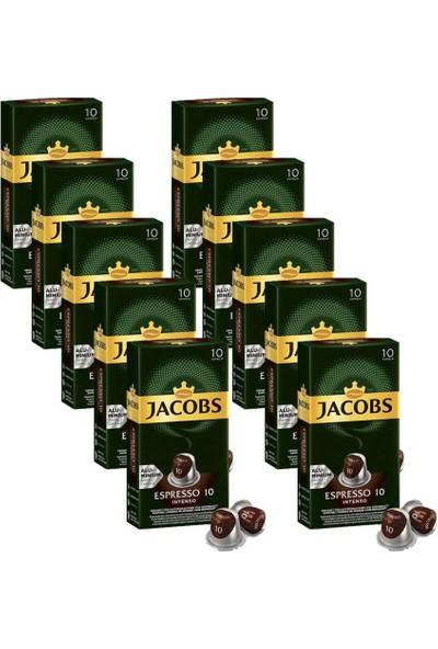 Jacobs Espresso 10 Intenso Kapsül Kahve 10 x 10 Paket (100 ) Nespresso Uyumlu
