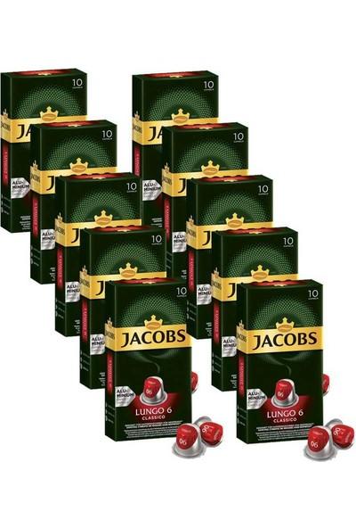 Jacobs Lungo 6 Classico Kapsül Kahve 10 X 10 Paket (100 ) Nespresso Uyumlu