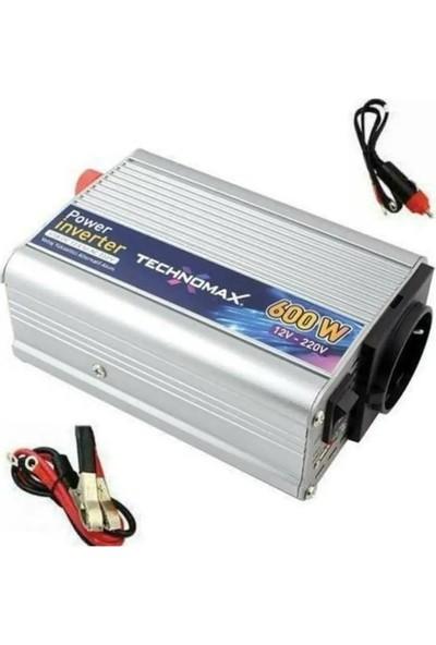 Technomax 600W 12V Çevirici Invertör Araç Elektirik Çeviricisi