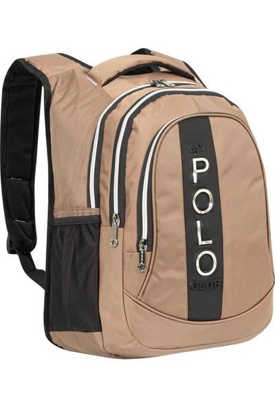 My Polo Unisex Siyah Spor Okul Sırt Çantası Vizon