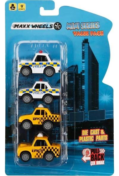 Maxx Wheels 4'lü Model Arabalar 6 Cm. - Damalı Polis Arabası