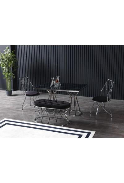 Ressahome Flora Puflu Siyah Mermerli Mutfak Masası Takımı-Gümüş BAKLAVA-80X120 cm