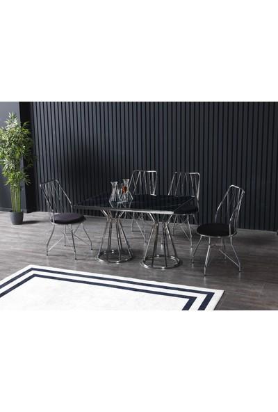 Ressahome Meyra 4 Kişilik Siyah Mermerli Mutfak Masası Takımı Gümüş Baklava 80 x 120 cm