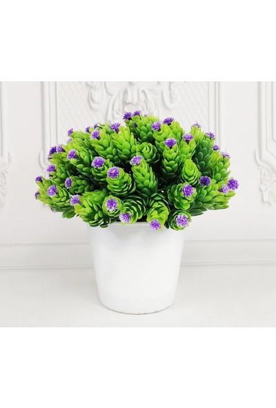 Nettenevime Yapay Çiçek Beyaz Saksıda Mor Mineli Başak Masa Üzeri Dekoratif Bitki 1414MOR
