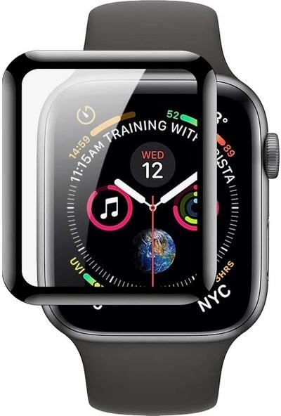 UKS Case Apple Watch Series 3 42 mm Tam Kaplayan Ekran Koruyucu Nano Cam Siyah
