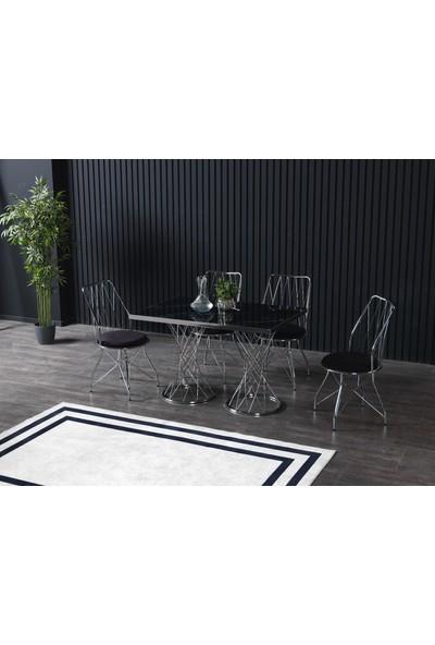 Ressahome Marine Siyah Mermerli Mutfak Masası Takımı-Gümüş Baklava 80X120 cm