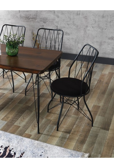 Ressahome Fiona Kütük Baklava Sandalyeli Tel Ayaklı Mutfak Masası Takımı 80X120